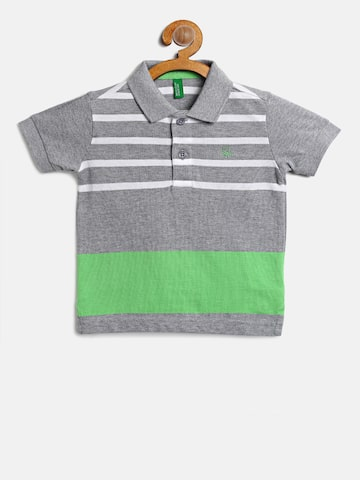 United Colors of Benetton Boys Grey Melange & White Striped Polo T-shirt United Colors of Benetton Tshirts at myntra