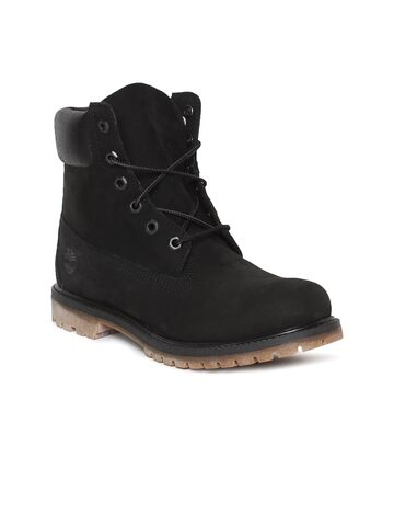 Timberland Women Black Solid Leather Mid-Top Waterproof Flat Boots Timberland Casual Shoes at myntra