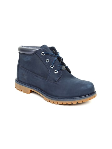 Timberland Women Navy NELLIE NVY/METALLIC Solid Leather Mid-Top Flat Boots Timberland Casual Shoes at myntra