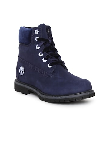 Timberland Women Blue Solid Leather Mid-Top Flat Boots Timberland Casual Shoes at myntra
