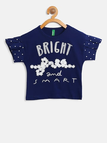 United Colors of Benetton Girls Navy Blue Printed Top United Colors of Benetton Tops at myntra