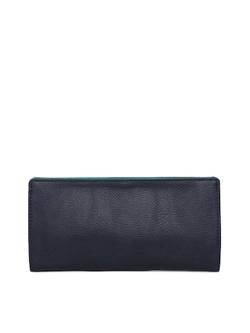 Baggit Women Navy Blue Solid Two Fold Wallet Baggit Wallets at myntra