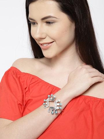 ToniQ Oxidised Silver-Toned Stone-Studded Cuff Bracelet ToniQ Bracelet at myntra