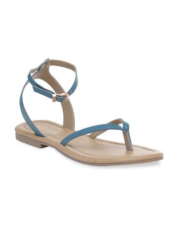 Wet Blue Women Navy Blue Solid Synthetic Open Toe Flats Wet Blue Flats at myntra