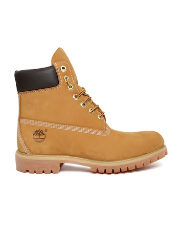 Timberland Men Tan Brown AF 6IN PREM Solid Leather High-Top Flat Boots Timberland Casual Shoes at myntra
