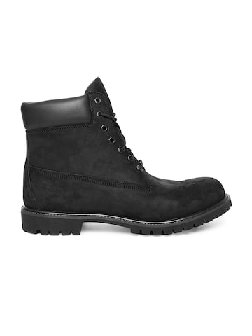 Timberland Men Black AF 6IN PREM Solid Leather High-Top Flat Boots Timberland Casual Shoes at myntra