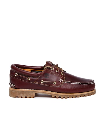 Timberland Men Burgundy Solid Leather Boat Shoes Timberland Casual Shoes at myntra