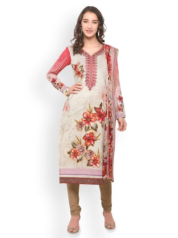Inddus Cream-Coloured & Red Pure Cotton Unstitched Dress Material Inddus Dress Material at myntra