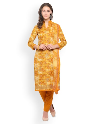 Inddus Mustard Pure Cotton Unstitched Dress Material Inddus Dress Material at myntra