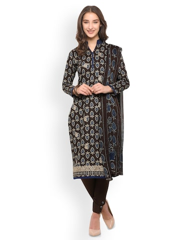 Inddus Brown Pure Cotton Unstitched Dress Material Inddus Dress Material at myntra