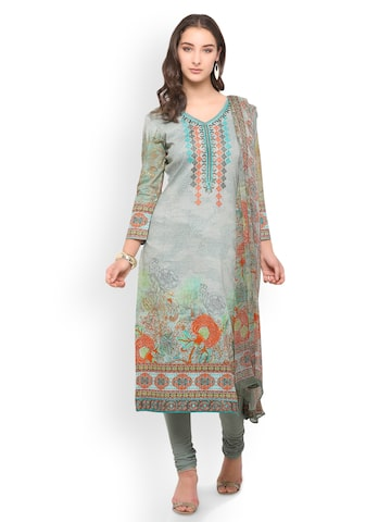 Inddus Grey Pure Cotton Unstitched Dress Material Inddus Dress Material at myntra