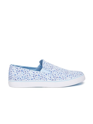 United Colors of Benetton Men Blue & White Printed Slip-On Sneakers United Colors of Benetton Casual Shoes at myntra