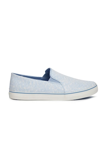 United Colors of Benetton Men White & Blue Printed Slip-On Sneakers United Colors of Benetton Casual Shoes at myntra