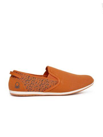 United Colors of Benetton Men Orange Printed Slip-Ons United Colors of Benetton Casual Shoes at myntra