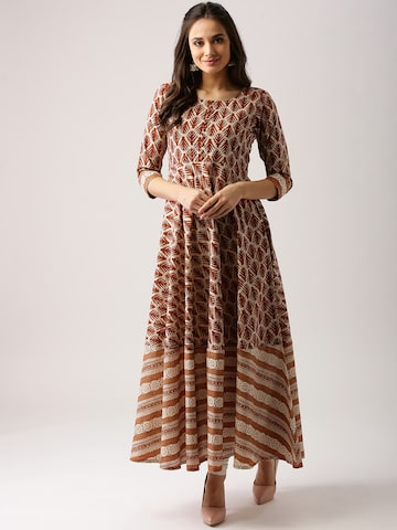 Libas Women Brown & Beige Printed Anarkali Kurta Libas Kurtas at myntra