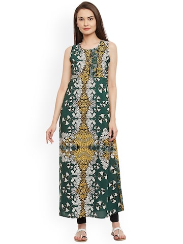 plusS Women Green & Yellow Printed Straight Kurta plusS Kurtas at myntra