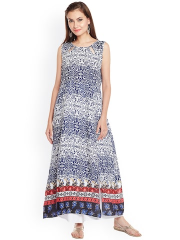 plusS Women Blue & White Printed Straight Kurta plusS Kurtas at myntra