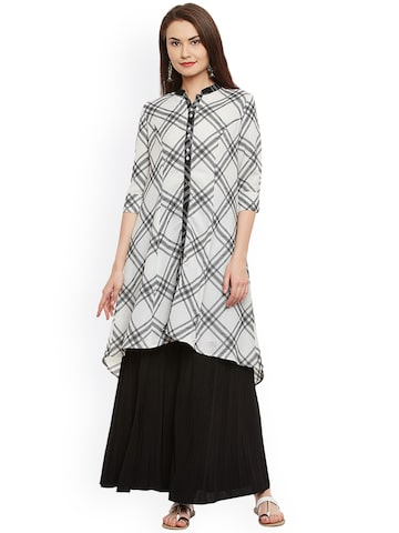 plusS Women White & Black Checked A-Line Kurta plusS Kurtas at myntra
