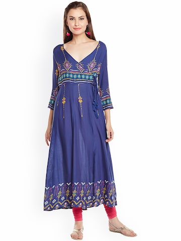 plusS Women Blue Printed Angrakha Kurta plusS Kurtas at myntra