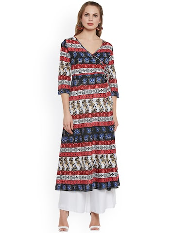plusS Women Multicoloured Printed Straight Kurta plusS Kurtas at myntra