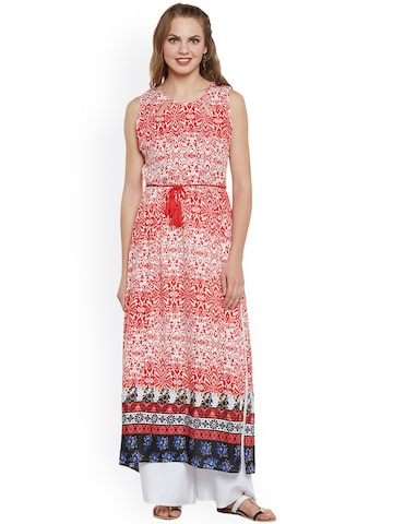 plusS Women Red & White Printed Straight Kurta plusS Kurtas at myntra