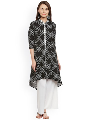 plusS Women Black & White Checked A-Line Kurta plusS Kurtas at myntra