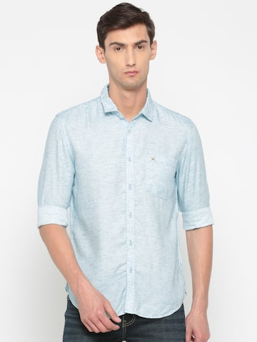 Indigo Nation Men Blue Slim Fit Solid Casual Shirt Indigo Nation Shirts at myntra