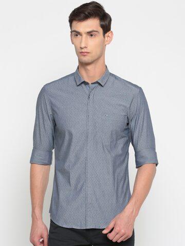 Indigo Nation Men Grey Slim Fit Printed Casual Shirt Indigo Nation Shirts at myntra