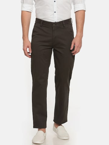 Peter England Men Coffee Brown Slim Fit Solid Chinos Peter England Trousers at myntra