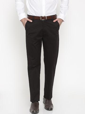 Peter England Men Black Slim Fit Solid Formal Trousers Peter England Trousers at myntra
