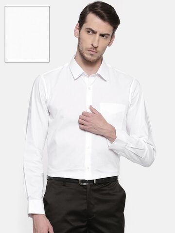 Peter England Men White Nuvo Regular Fit Solid Formal Shirt Peter England Shirts at myntra