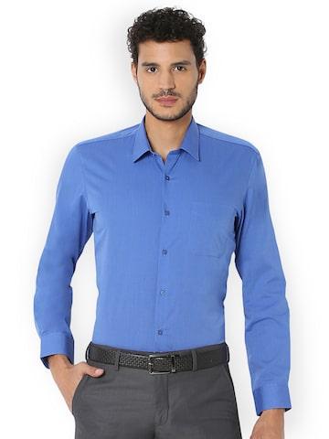 Peter England Men Blue Regular Fit Solid Formal Shirt Peter England Shirts at myntra