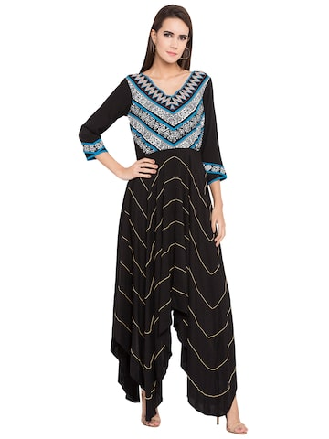 Nikhaar Women Black Yoke Design A-Line Kurta Nikhaar Kurtas at myntra