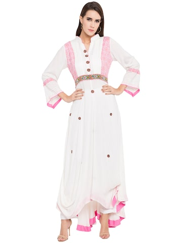 Nikhaar Women White Embroidered A-Line Kurta Nikhaar Kurtas at myntra