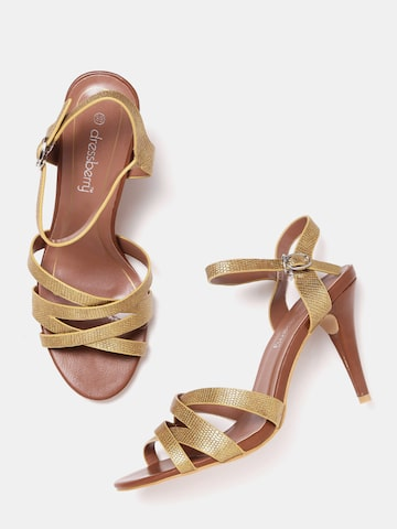 DressBerry Women Gold-Toned Textured Sandals DressBerry Heels at myntra