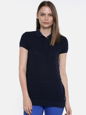 U.S. Polo Assn. Women Women Navy Blue Self Design Polo Collar T-shirt U.S. Polo Assn. Women Tshirts at myntra