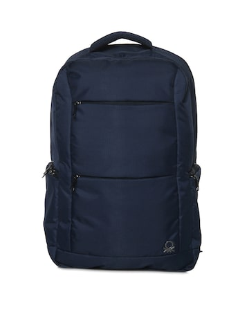 United Colors of Benetton Unisex Navy Blue Solid Backpack United Colors of Benetton Backpacks at myntra