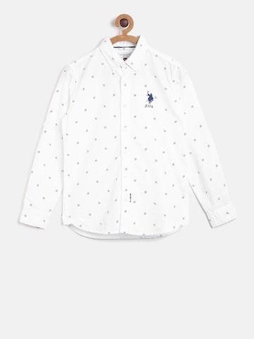 U.S. Polo Assn. Kids Boys White Regular Fit Printed Casual Shirt U.S. Polo Assn. Kids Shirts at myntra