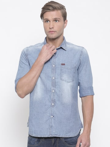 Lee Cooper Men Blue Contemporary Regular Fit Faded Casual Denim Shirt Lee Cooper Shirts at myntra