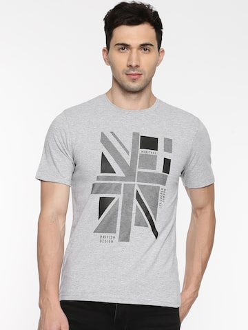 Lee Cooper Men Grey Printed Round Neck T-shirt Lee Cooper Tshirts at myntra