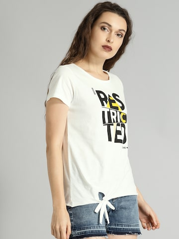 Roadster Women White Printed Top Roadster Tops at myntra