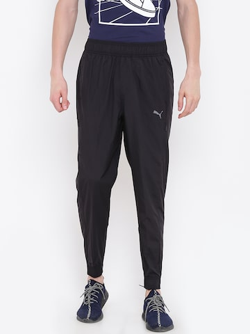 Puma Black Energy Woven Solid Joggers Puma Track Pants at myntra