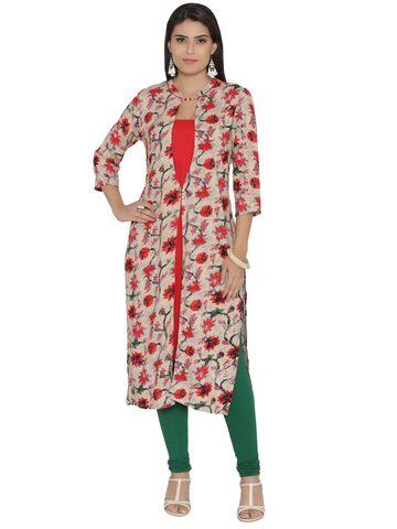 Shree Women Beige & Red Floral Print Straight Kurta Shree Kurtas at myntra