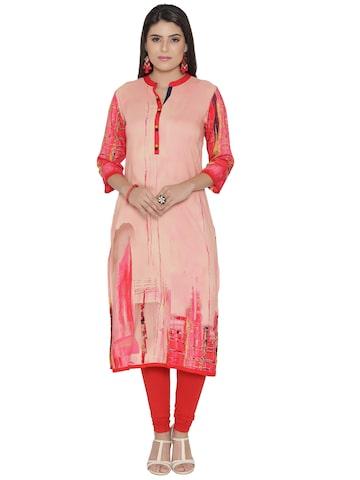 Shree Women Peach-Coloured & Red Printed Straight Kurta Shree Kurtas at myntra