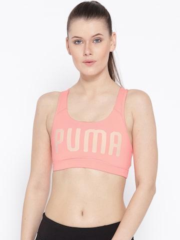 Puma Peach-Coloured Printed Lightly Padded PWRSHAPE Forever Sports Bra Puma Bra at myntra