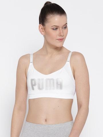 Puma White Printed Lightly Padded En Pointe Logo Bra Sports Bra Puma Bra at myntra