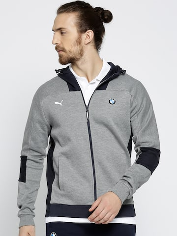 Puma Grey BMW MS Hooded Sweat Jacket Puma Jackets at myntra