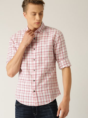 United Colors of Benetton Men White & Red Slim Fit Checked Casual Shirt United Colors of Benetton Shirts at myntra