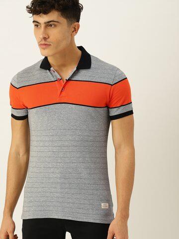 United Colors of Benetton Men Grey & Orange Striped Polo T-shirt United Colors of Benetton Tshirts at myntra