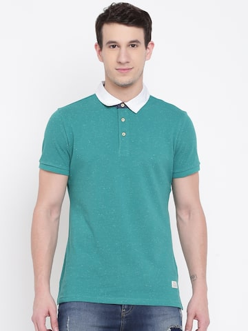 United Colors of Benetton Men Green Solid Polo Collar T-shirt United Colors of Benetton Tshirts at myntra